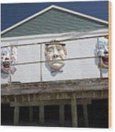 Boardwalk Clowns Wood Print