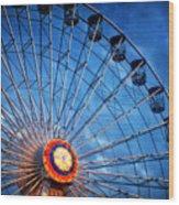 Boardwalk Ferris Wheel At Dusk Wood Print