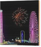 Boardwalk Fieworks At The Jersey Shore Wood Print
