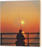 Boardwalk Fishing Wood Print