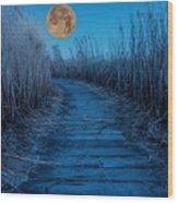 Boardwalk Moon Wood Print