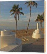 Boardwalk Palms Wood Print