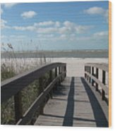 Boardwalk To The Beach Wood Print