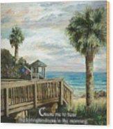 Boardwalk With Lifeguard Psalm 143 Wood Print