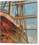 Boat - Ny - South Street Seaport - Peking Wood Print by Mike Savad