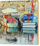 Happy And Colorful Boats In Their Own Company  Wood Print by Hilde Widerberg