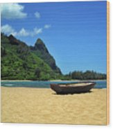 Boat And Bali Hai Wood Print