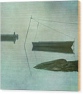 Boat And Dock Taunton River No. 2 Wood Print