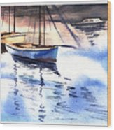 Boat And The River Wood Print