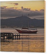 Boat And The Sunset Wood Print