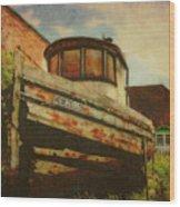 Boat At Apalachicola Wood Print
