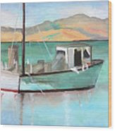 Boat At China Camp State Park Wood Print
