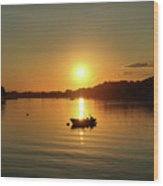 Boat At Sunset Glow Wood Print
