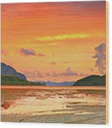 Boat At Sunset Wood Print by MotHaiBaPhoto Prints