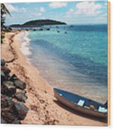 Boat Beach Vieques Wood Print
