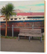 Boat Bench Tree Wood Print