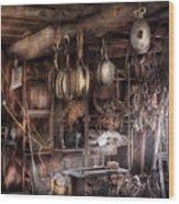 Boat - Block And Tackle Shop  Wood Print