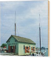 Boat By Oyster Shack Wood Print
