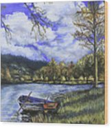 Boat By The Lake Wood Print