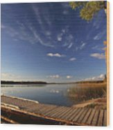 Boat Dock And Autumn Trees Along A Saskatchewan Lake Wood Print