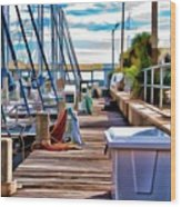 Boat Dock Wood Print