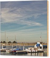 Boat Dock On The Bay Wood Print