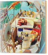 Enter My Boat And Let's Go Away From It All And Never Look Back  Wood Print by Hilde Widerberg