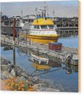 Boat Harbor At Bandon Wood Print