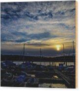 Boat Harbor At Sunset Wood Print