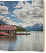 Boat House And Canoes On A Jetty At Maligne Lake In Canada Wood Print