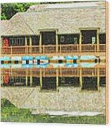 Boat House At Verona Park  Wood Print
