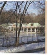 Boat House Central Park Ny Wood Print