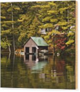 Boat House Wood Print by David Simons