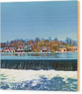 Boat House Row From Fairmount Dam Wood Print