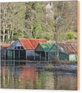 Boat Huts Wood Print