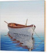 Boat In A Serene Sea Wood Print