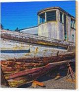 Boat In Dry Dock Wood Print