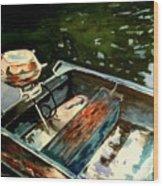 Boat In Fog 2 Wood Print