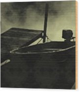 Boat In Fog Wood Print