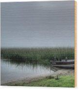 Boat In The Fog Wood Print