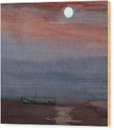 Boat In The Moon Wood Print