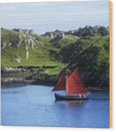 Boat In The Sea, Galway Hooker, County Wood Print