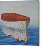 Boat In The Sea Wood Print