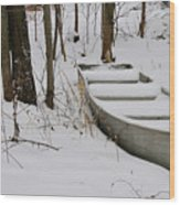 Boat In Winter Wood Print