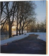 Boat Launch In Winter Wood Print