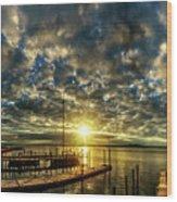 Boat Launch Sunrise Wood Print