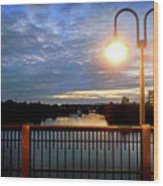 Boat Lights Sunset On Lady Bird Lake Wood Print