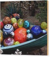 Boat Load Of Blown Glass Balls Wood Print