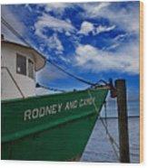 Boat Love In Apalachicola Wood Print