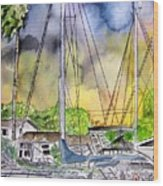 Boat Marina Wood Print